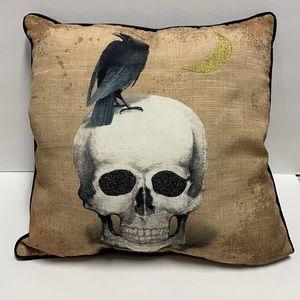 Crow on a Glitter Eyes Skull Gold Moon Pillow